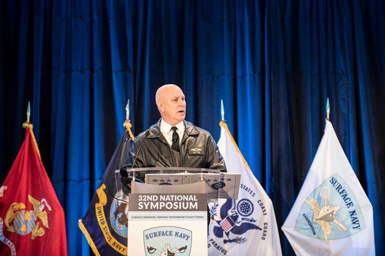 ARLINGTON, Va. (Jan. 16, 2020) Adm. Christopher W. Grady, commander of U.S. Fleet Forces Command and U.S. Naval Forces Northern Command, delivers remarks during a discussion panel at the Surface Navy Association's 32 National Symposium at the Hyatt Regency Crystal City in Arlington, Virginia. (U.S. Navy photo by Mass Communication Specialist 2nd Class Brent Pyfrom/Released)