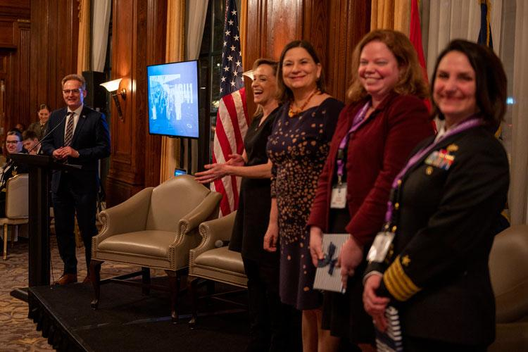 WASHINGTON (March 5, 2020) Acting Secretary of the Navy Thomas B. Modly delivers remarks at the conclusion of the 2020 Secretary of the Navy International Women's Day Salute at the Army Navy Club in Washington, D.C. Modly hosted the salute in recognition of Women's History Month and the March 8 global observance of International Woman's Day. (U.S. Navy photo by Mass Communication Specialist 2nd Class Alexander C. Kubitza/Released)