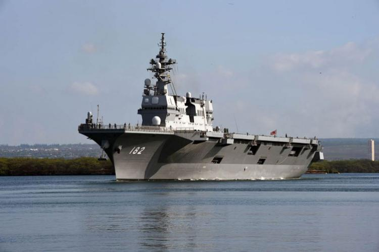 The Japan Maritime Self-Defense Force destroyer helicopter ship JS Ise departs Pearl Harbor, Hawaii, July 10, 2018. Japan plans to build smaller vessels to relieve its destroyers of patrol duties in the East China Sea. (JIMMIE CROCKETT/U.S. NAVY)