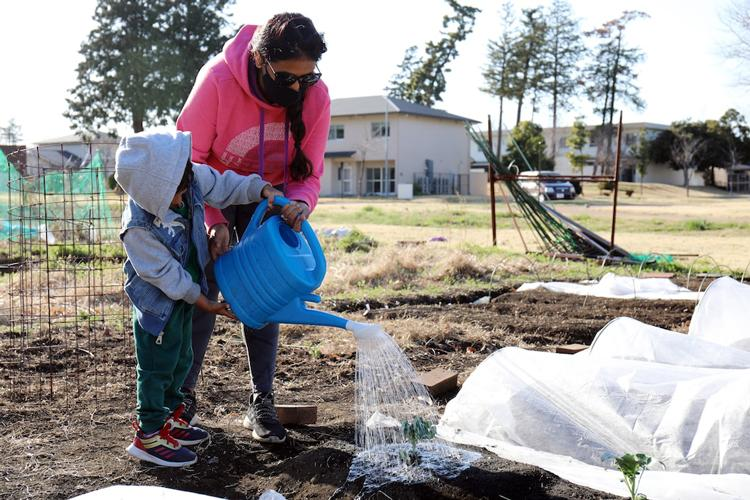 Annie Edwards and her 4-year-old son M. water vegetables in their plot at the Camp Zama and Sagamihara Family Housing Area Community Garden, SFHA, Japan, March 15.