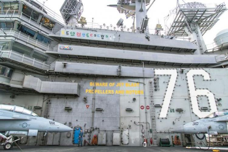The aircraft carrier USS Ronald Reagan is pictured during a port visit at Busan, South Korea, Saturday, Oct. 21, 2017. (STARS AND STRIPES)