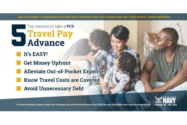 MILLINGTON, Tenn. (June 6, 2019) An informational graphic shows five advantages for Sailors to choose a travel pay advance during a permanent change of duty move. (U.S. Navy graphic illustration by Doug Bedford/Released)