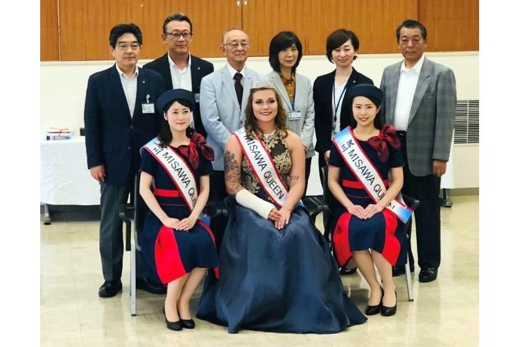 Airman 1st Class Brooklyn Shedd and her fellow Misawa Queens pose with Misawa city officials after being crowned on Friday, June 21, 2019. (BRITTANY CHASE/U.S. AIR FORCE)