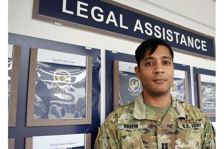 Capt. Anthony Hosein, a legal assistance attorney and Special Victim Counsel at the U.S. Army Japan Legal Assistance Office, stands outside the office July 6. Hosein spent nearly two years as the SVC at Camp Zama and is slated to leave the installation and become an SVC at Fort Sam Houston, in San Antonio, Texas. (Photo Credit: Wendy Brown, U.S. Army Garrison Japan Public Affairs)