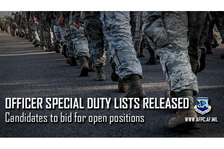 The Air Force released candidate lists for Officer Instructor and Recruiting Special Duty, Aug. 2, 2019. This program is the next significant milestone in the Air Force's initiative to transform the officer talent management process used to fill education, training and recruiting positions. (U.S. Air Force graphic by Kat Bailey)