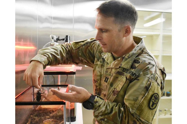 Capt. John Eads, chief medical entomologist for Public Health Command-Pacific, holds a Japanese rhinoceros beetle named Petri at the command's headquarters at Camp Zama, Japan, July 10, 2020. (Photo By Winifred Brown)