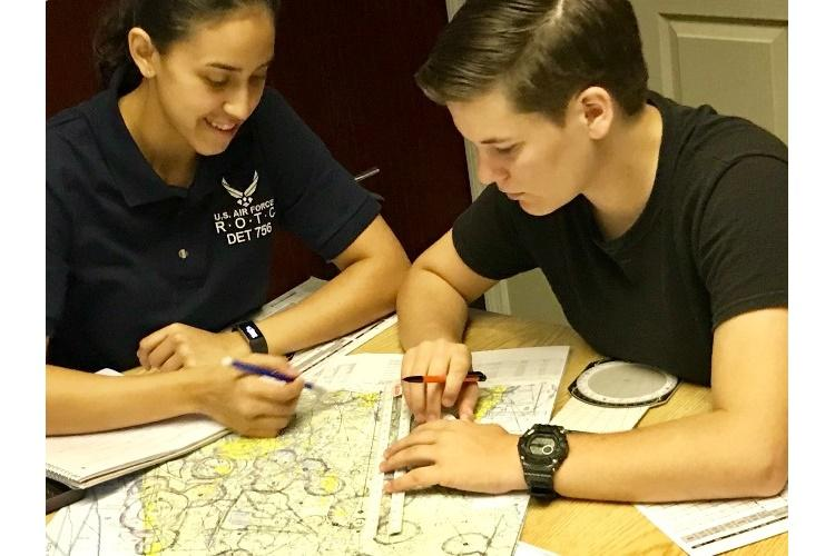 Air Force Junior ROTC cadets at Southeastern University, Lakeland, Fla., study hard through the eight-week Air Force JROTC Flight Academy program for the chance to earn their private pilot certification. (U.S. Air Force courtesy photo)