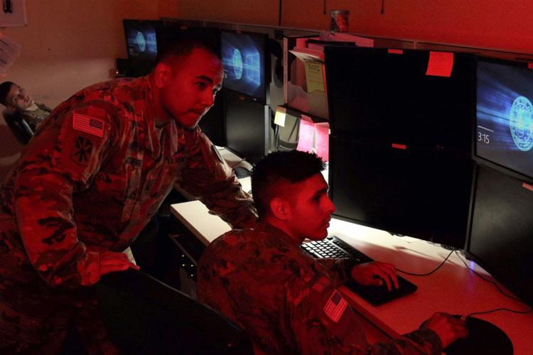 Joint Tactical Ground Station D Detachment Soldiers assigned to Misawa Air Base in Northern Japan undergo certification to remain current on their early warning, theater ballistic missile defense mission. JTAGS receives infrared data directly from satellites and the Soldiers process that data from the sensors to alert U.S. and allied commanders in their assigned theaters. (Army photo by Robert S. Segin)