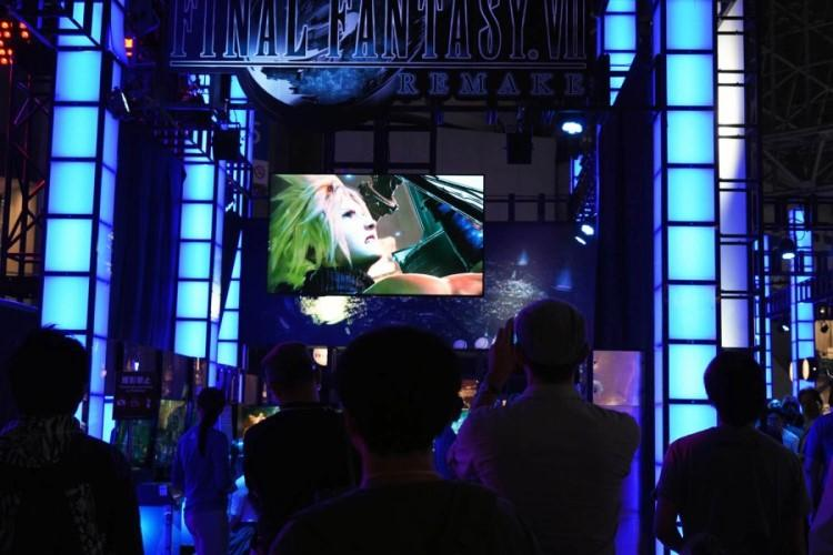Visitors get a glimpse of the Final Fantasy 7 Remake trailer at the Tokyo Game Show 2019 on Thursday, Sept. 12, 2019. (CHRISTIAN LOPEZ/STARS AND STRIPES)