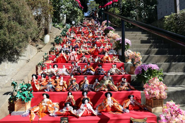 """Hinamatsuri"" dolls line the steps to the Zama Shrine during the shrine's fifth annual Girls' Day festival, Zama, Japan, March 3."