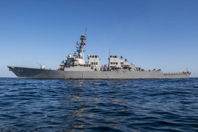 EAST CHINA SEA (Oct. 30, 2019) The Arleigh Burke-class guided-missile destroyer USS Milius (DDG 69) sails in the East China Sea. Milius is underway conducting operations in the Indo-Pacific region while assigned to Destroyer Squadron (DESRON) 15, the Navy's largest forward-deployed DESRON and the U.S. 7th Fleet's principal surface force. (U.S. Navy photo by Mass Communication Specialist 2nd Class Taylor DiMartino)