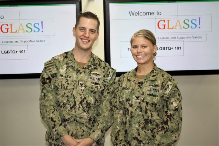 YOKOSUKA, Japan (November 1, 2019) Cryptologic Technician (Technical) 2nd Class Donald Dahlem (left) and Cryptologic Technician (Maintenance) 3rd Class Rachel Buchberger (right) lead the inaugural Gay, Lesbian, and Supportive Sailors (GLASS) meeting at Navy Information Operations Command (NIOC) Yokosuka. GLASS was established to provide an open forum for all Sailors to discuss matters that impact the lesbian, gay, bisexual, transgender, and queer (LGBTQ) community.