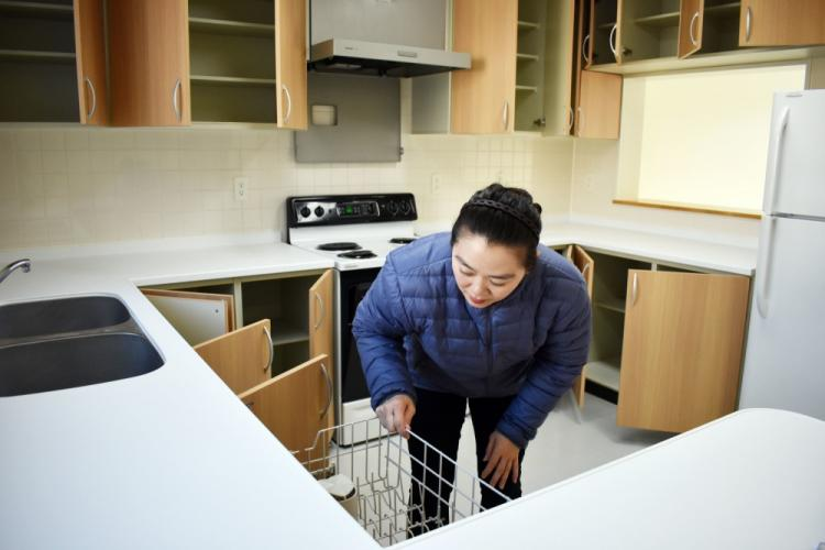 Mamiko Takishima, a housing inspector for the Housing Division, Directorate of Public Works, U.S. Army Garrison Japan, makes sure a dishwasher works inside a housing unit in the Sagamihara Family Housing Area, Japan, March 12, 2020.