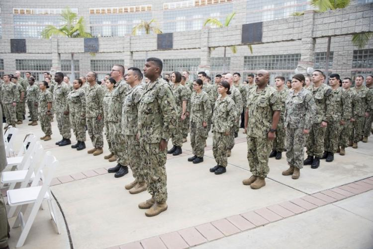 NAVAL AMPHIBIOUS BASE CORONADO (Sept. 26, 2019) Sailors stand in ranks during an award ceremony at Commander, Naval Surface Force, U.S. Pacific Fleet. The ceremony recognized Sailors who distinguished themselves for their bravery and contributions to damage control efforts during the 2017 collision aboard the guided-missile destroyer USS John S. McCain (DDG 56). (U.S. Navy photo by Mass Communication Specialist 1st Class Raymond D. Diaz III/Released)