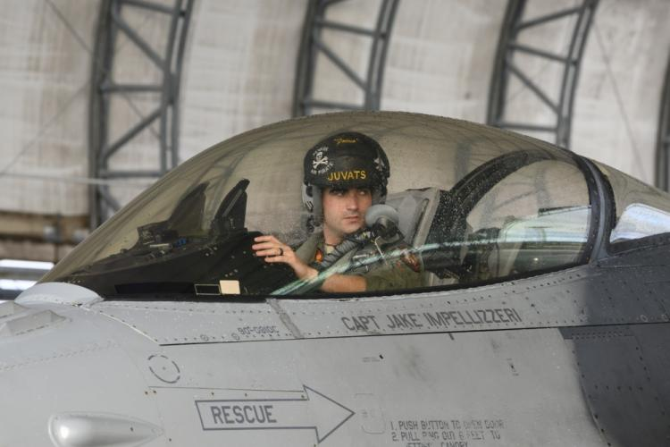 U.S. Air Force Capt. Mike Karnes, 14th Fighter Squadron F-16 fighter pilot, parks an F-16 Fighting Falcon at Andersen Air Force Base, Guam, April 22, 2019. Misawa Air Base Airmen and aircraft deployed to Guam for Resilient Typhoon, an exercise designed to strengthen airpower dispersal capabilities within the Indo-Pacific region. (U.S. Air Force photo by Staff Sgt. Brittany A. Chase)