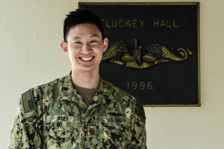 """YOKOSUKA, Japan (March 14, 2019) Lt. Cmdr. Alan Kuei, from Fremont, California, a reserve theater anti-submarine warfare watch officer temporarily assigned to Commander, Submarine Group Seven, poses for a portrait at U.S. Fleet Activities Yokosuka, Japan. """"I joined the Navy to travel the world,"""" said Kuei. """"My best experience here has been standing watch to grow professionally and learn new things, and gaining new friendships."""" (U.S. Navy photo by Mass Communication Specialist 1st Class Ryan Litzenberger)"""