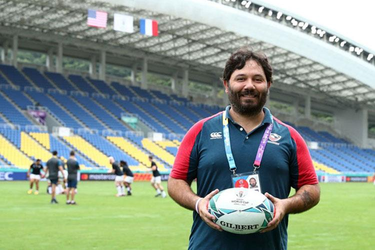 Marine Corps veteran Oscar Alvarez now serves as a manager for the U.S. Eagles national rugby team, which has been competing in the Rugby World Cup in Japan. (OSCAR ALVAREZ)