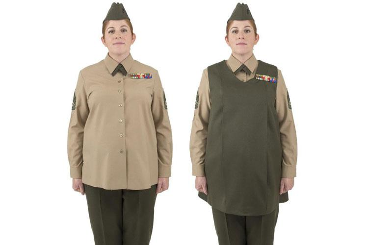 The Marine Corps is looking to add adjustable side tabs to the current maternity shirts and tunic for the service uniform. (U.S. MARINE CORPS)