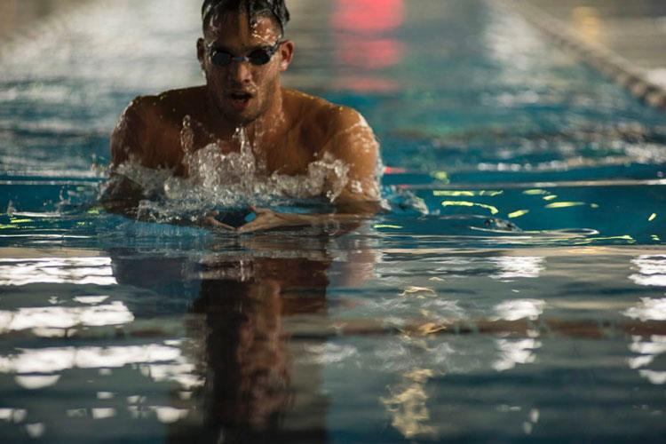 Shotaro Shimazaki, 27, a swimming instructor at Yokota Air Base, Japan, is a competitive breaststroker who plans to enter trials that will determine who competes for Japan at the summer games in Tokyo. (THERON GODBOLD/STARS AND STRIPES)