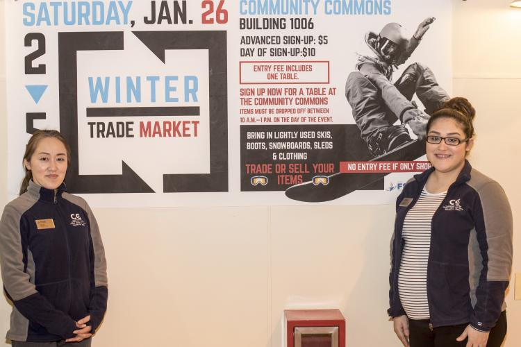 Miyuki Taneichi, left, the 35th Force Support Squadron community commons program specialist, and Alejandra Santoyo, right, a recreational aid, host the Winter Trade Market at Misawa Air Base, Japan, Jan. 26, 2019. Their intent was to create opportunities for individuals around base to participate in recreational winter sports. (U.S. Air Force photo by 1st Lt. Jeremy Garcia)