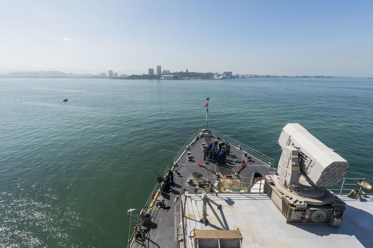KOTA KINABALU, Malaysia (Feb. 23, 2019) The amphibious dock landing ship USS Ashland (LSD 48) is anchored out off the coast of Kota Kinabalu, Malaysia. Ashland, part of the Wasp Amphibious Ready Group, with embarked 31st Marine Expeditionary Unit, is operating in the Indo-Pacific region to enhance interoperability with partners and serve as a ready-response force for any type of contingency. (Photo by Petty Officer 2nd Class Markus C)