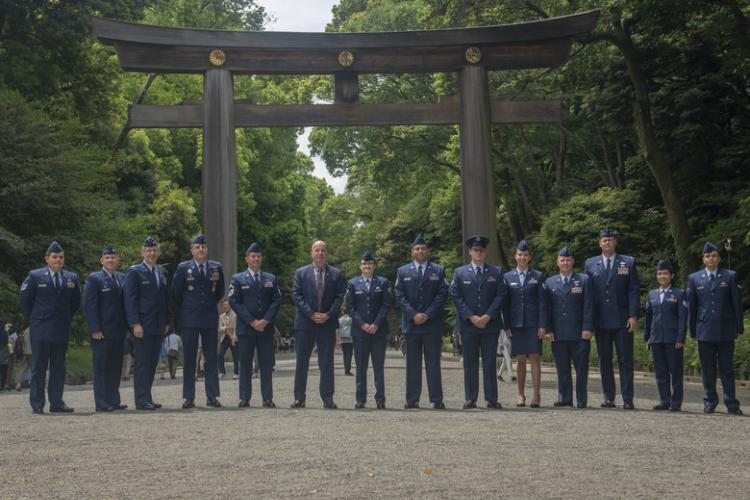 Members of Team Yokota and Good Deed Award winners pose for a photo at the Meiji Shrine, Tokyo, Japan, May 18, 2019. The Good Deed Award is an annual ceremony that recognizes individuals or groups who have performed good deeds within the local community. (U.S. Air Force photo by Airman 1st Class Brieana E. Bolfing)