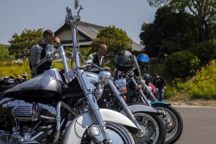Iwakuni Thunder Run riders stage their motorcycles at a rest stop on Suooshima Island, Japan, May 24, 2019. The Thunder Run was an inaugural station sanctioned motorcycle ride hosted by the Torii Riders, the Headquarters and Headquarters Squadron Motorcycle Mentorship Program, to promote the correct use of proper protective equipment and safety throughout the 101 Critical Days of Summer. (U.S. Marine Corps photo by Pfc. Kevin Alarcon)