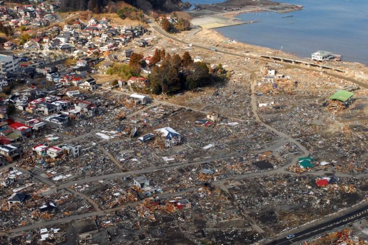 An aerial view of damage to Sukuiso, Japan, a week after an earthquake and subsequent tsunami devastated the area. DYLAN MCCORD/U.S. NAVY PHOTO