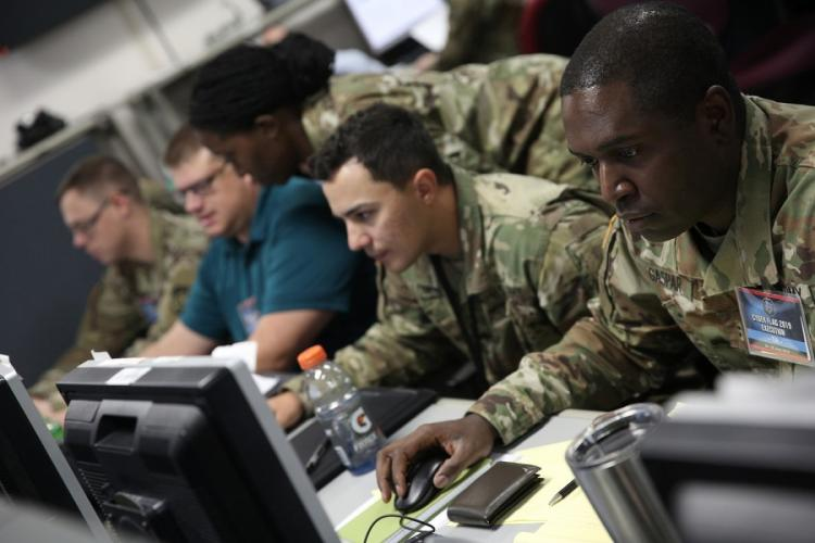 U.S. servicemembers, civilians and partner nations participate in the Cyber Flag exercise in June in Suffolk, Va. U.S. CYBER COMMAND