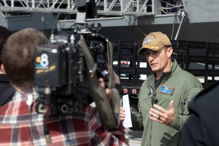 Capt. Brett Crozier speaks with local news media at Naval Air Station North Island, San Diego, Jan. 17, 2020. KAYLIANNA GENIER/U.S. NAVY