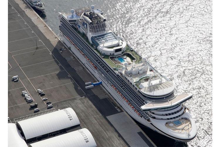The cruise ship Diamond Princess is docked at Yokohama Port, near Tokyo, Friday, Feb. 7, 2020. AP