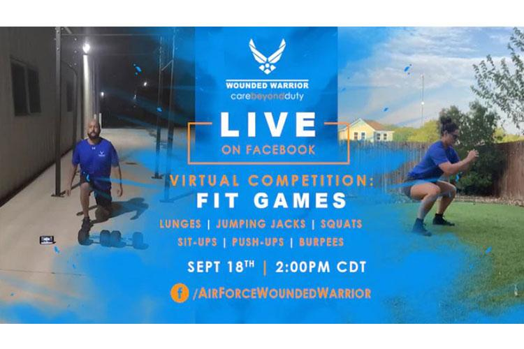 The Air Force Wounded Warrior Program (AFW2) is holding their first ever Fit Games Sept. 18, 2020 at 2 p.m. CDT. Fourteen athletes will compete in six rounds of six bodyweight exercises for time. The event serves to promote physical fitness, camaraderie and competitive fun. (U.S. Air Force Graphic by Melissa Espinales)
