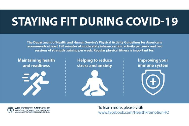 The Department of Health and Human Services' Physical Activity Guidelines for Americans recommends at least 150 minutes of moderately intense aerobic activity per week and two sessions of strength training per week. (U.S. Air Force courtesy graphic)