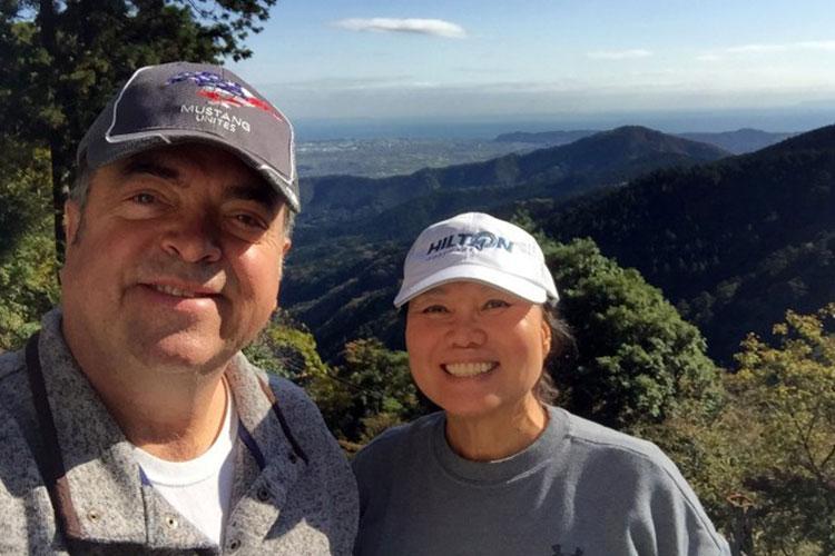 Bobby and Kim Rakes start their hike of Mount Oyama, Japan, Nov. 11. (Photo Credit: Winifred Brown)