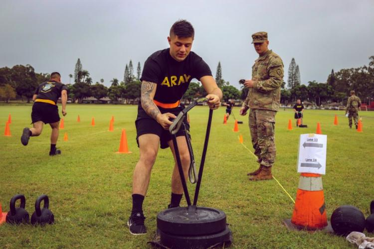 Spc. Aaron Chamberlain, 1st Battalion, 21st Infantry Regiment, 2nd Infantry Brigade Combat Team, 25th Infantry Division conducts the sprint, drag and carry during a field-testing of the Army Combat Fitness Test at Schofield Barracks, Hawaii, March 6, 2019. GEOFF COOPER/U.S. ARMY