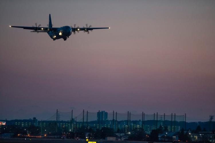 A C-130J Super Hercules with 374th Airlift Wing takes off from Yokota Air Base, Japan, Jan. 14, 2019. TIMOTHY VALERO/U.S. MARINE CORPS