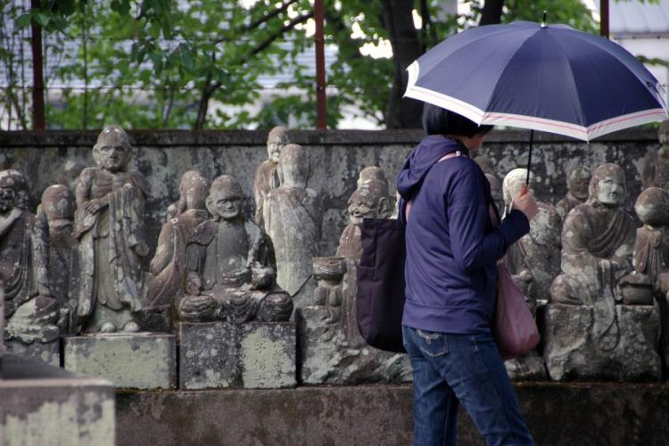 A visitor moves through a garden of 540 stone statues of Buddha's disciples at the Kitain temple in Kawagoe, Japan, on May 18, 2019. JOSEPH DITZLER/STARS AND STRIPES