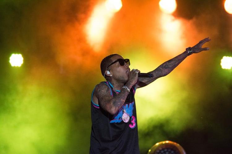 Rapper Kid Ink performs during the Camp Foster Festival at the Marine base on Okinawa, Sunday, July 7, 2019. CARLOS VAZQUEZ/STARS AND STRIPES