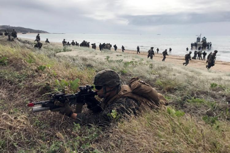 Marines secure Kings Beach near the Australian town of Bowen during an amphibious drill that was part of the monthlong Talisman Sabre exercise, Monday, July 22, 2019. SETH ROBSON/STARS AND STRIPES