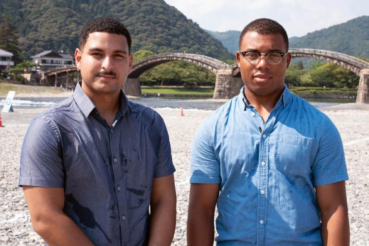 Cpls. Jose Castrobaez, left, and Raekwon Johnson, C-130J engine mechanics, assisted a Japanese civilian who was injured July 27, 2019, while spearfishing near Marine Corps Air Station Iwakuni, Japan. They are pictured near the scene on Thursday, Aug. 1, 2019. JAMES BOLINGER/STARS AND STRIPES