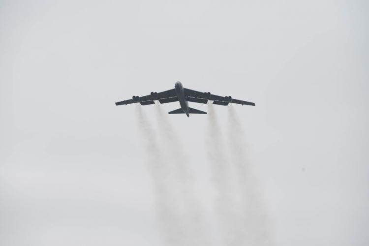 An Air Force B-52 Stratofortress deployed from Barksdale Air Force Base, La., takes off from RAF Fairford, England, March 21, 2019. JENNIFER ZIMA/U.S. AIR FORCE
