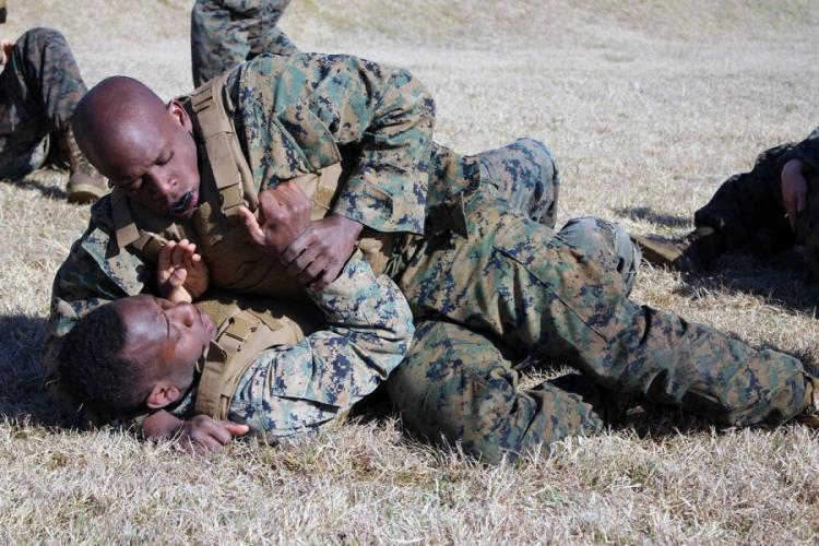 Marines grapple hand-to-hand during martial arts training at Combined Arms Training Center Camp Fuji, Gotemba, Japan, on Wedensday, April 10, 2019.  COURTESY U.S. MARINE CORPS