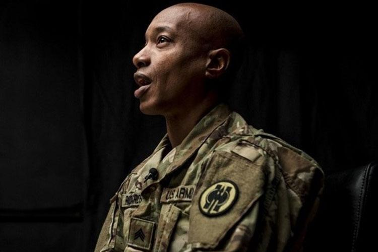 Army Sgt. Claude Richardson, an Army Reservist and suicide prevention instructor with the 358th Military Police Company, talks about his experience as an instructor during a 2018 video project hosted and organized by the 200th Military Police Command's Suicide Prevention Program. (Photo by Army Master Sgt. Michel Sauret.)