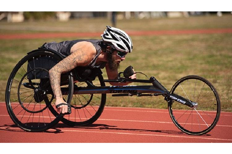 A Special Operations Forces wounded warrior competes in the Warrior Games selection camp at MacDill Air Force Base, Florida, in February. The COVID-19 pandemic forced the cancellation of this year's Warrior Games. (DoD Photo by Roger L. Wollenberg)