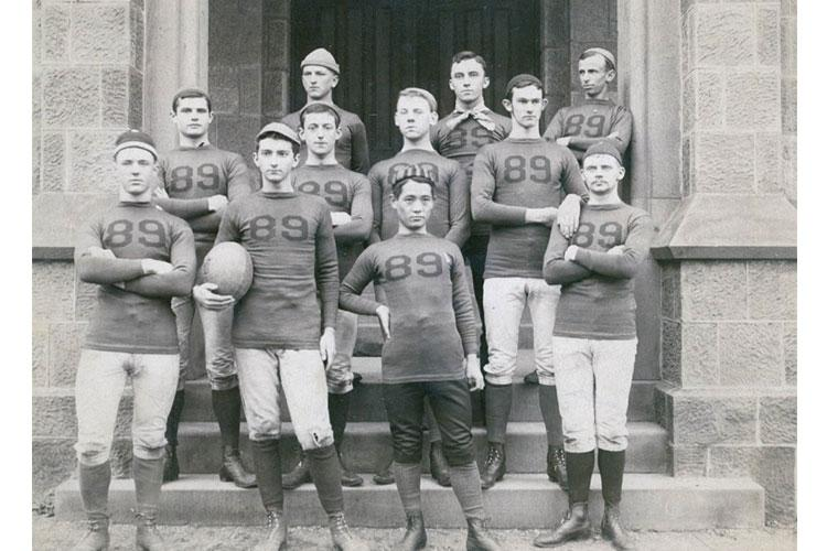 Kojiro Matsukata, front row, center, attended Rutgers College in New Jersey starting in 1885 and played on the freshman football team. RUTGERS UNIVERSITY LIBRARIES