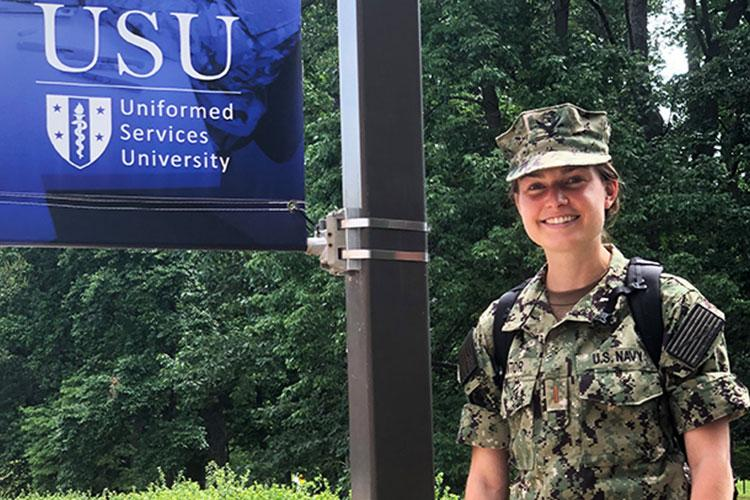 Addison Cantor, now a Naval officer and first-year medical student at the Uniformed Services University, was named among the NCAA's Top 30 Woman of the Year honorees for 2020. (Photo by Polly Cantor)