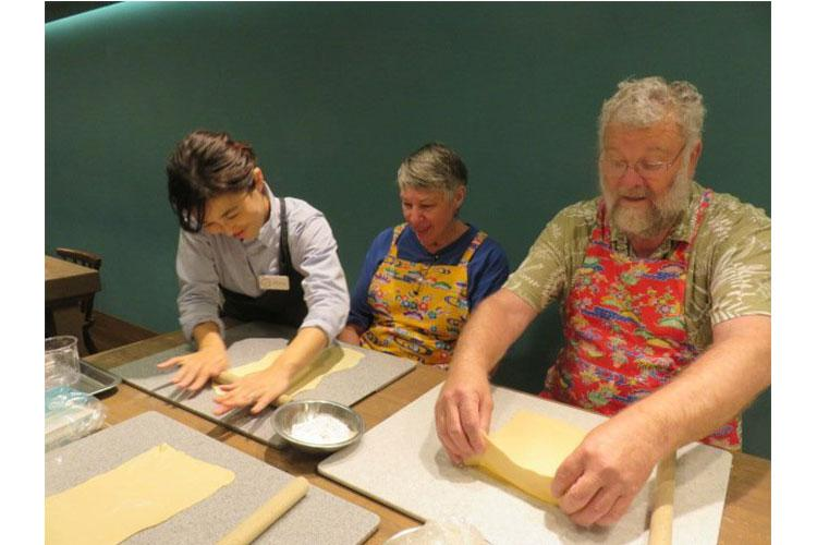 Photos by  Bonson Lam:  Kneading dough for some hand made Okinawa soba noodles