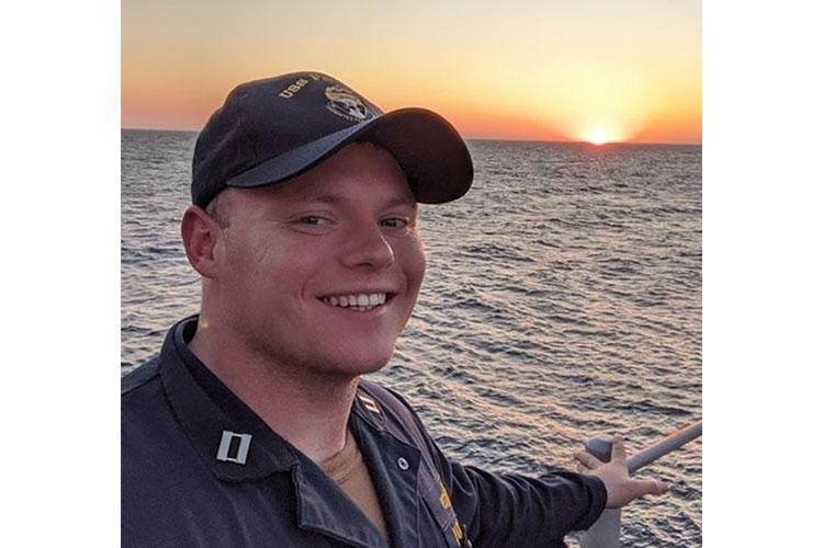 Lt. Ben Pederson, navigator on board USS Patriot (MCM 7) poses for a photo while underway in the U.S. 7th Fleet area of operations. Patriot is forward-deployed to Sasebo, Japan and assigned to Commander, Mine Countermeasures Squadron (COMCMRON) 7. COMCMRON 7 conducts integrated mine countermeasure operations using air, Surface, and explosive ordnance disposal assets in both exercise and regional conflict scenarios throughout the U.S. 7th Fleet Area of Responsibility.