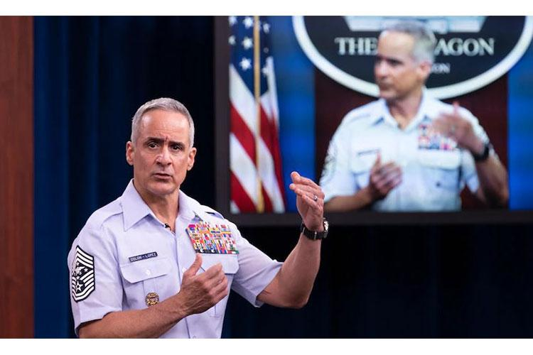 """Senior Enlisted Advisor to the Chairman Ramón """"CZ"""" Colón-López speaks on diversity and inclusion at the Pentagon, Aug. 17, 2020. The board — chaired by Secretary of the Air Force Barbara Barrett — wants input from service members and DOD civilians, and crowdsourcing is one tool they will use. (U.S. Air Force courtesy photo)"""