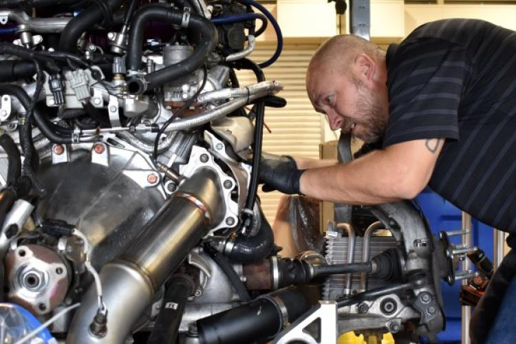 Michael Deeter, a car enthusiast and civilian employee at Camp Zama, works on his 2015 Nissan GTR at the Camp Zama Auto Skills Center April 19. (Photo Credit: Wendy Brown, U.S. Army Garrison Japan Public Affairs)
